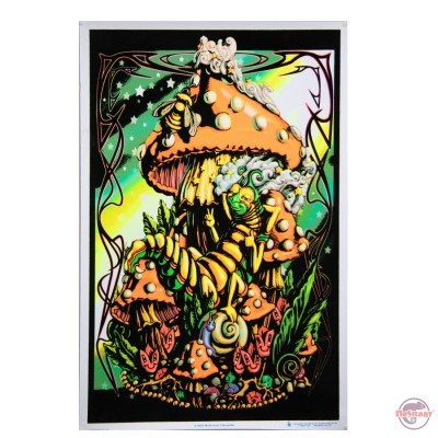 Black light poster Mushroom caterpillar